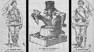 Lors du premier concours Lépine en 1901, des «joujoux» d'artistes «hors concours»: le singe à la marmite d'Emmanuel Frémiet et le soldat double-face d'Edouard Detaille.
