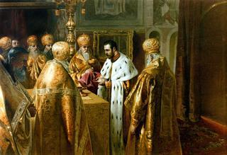 L'empereur Nicolas II lors de son couronnement le 26 mai 1896 à Moscou.