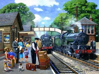 Le voyage et les vacances commencent dès l'attente sur le quai d'une gare.