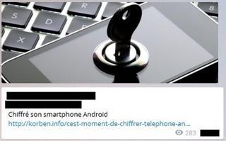 Capture d'écran effectuée sur une chaîne Telegram de Daech. Ce post renvoie vers un article expliquant les différents moyens de «chiffrer son téléphone». Crédits photo: Caroline Piquet/Le Figaro