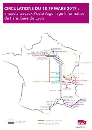 La SNCF a publié une carte indiquant les lignes concernées par ces travaux.