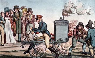 Une draisienne à vapeur au début du XIXe siècle.