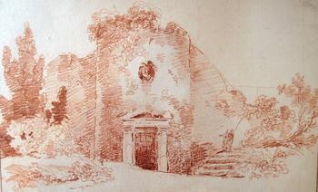 Sanguine de la tour de Guy avec le portail néo-grec dessiné par Hubert Robert. Crédit: Vicomte de Nohan.