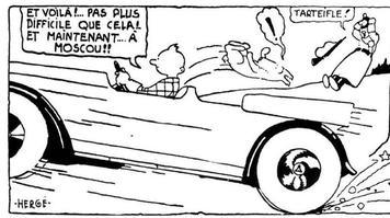 Version originale noir et blanc de la case du bas de la huitième planche, tirée de <i>Tintin au pays des Soviets,</i> par Hergé.