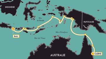 Itinéraire de la croisière «Fascinante Indonésie» à bord du Lapérouse.