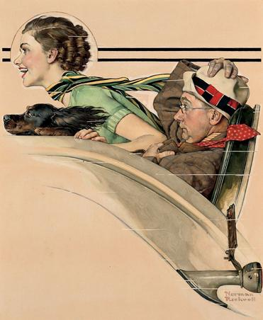 Couple in Rumbleseat, Norman Rockwell, 1935.