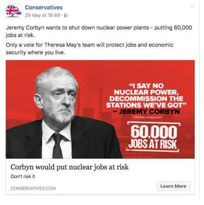 Capture d'écran du Bureau of Investigative Journalism d'une publicité contre le candidat Jeremy Corbyn
