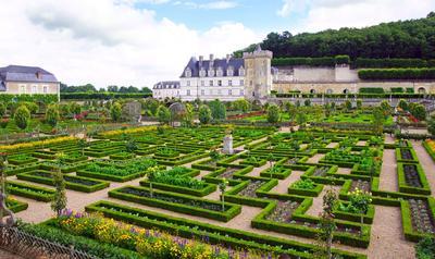 Les célèbres bordures de buis du château de Villandry en Indre-et-Loire.