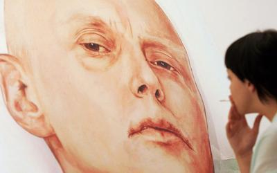 Fresque représentant Alexandre Litvinenko sur son lit d'hôpital, à la Marat Guelman gallery, à Moscou.