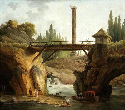 Vue du parc de Méreville et de la grande cascade. Peinture de Hubert Robert. Crédit photo: Collections départementales de l'Essonne.