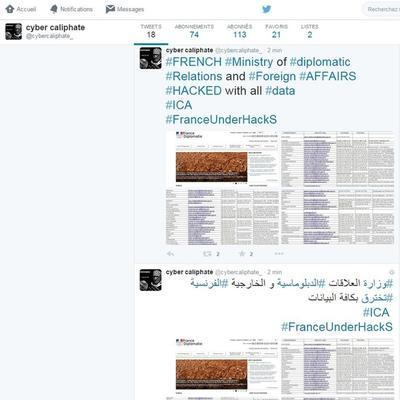 Capture d'écran d'un des comptes Twitter revendiquant une cyberattaque de sites de ministères français.