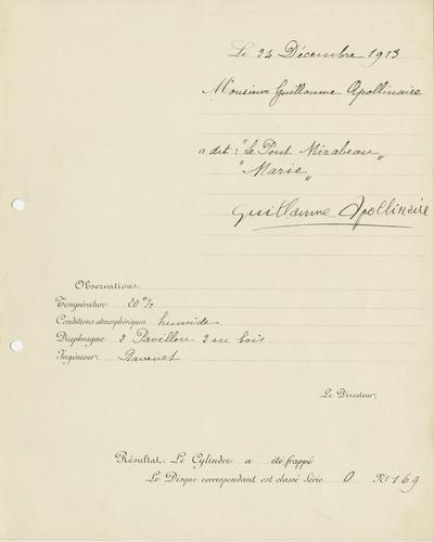 La fiche d'enregistrement sur cylindre, datée du 24 décembre 1913.