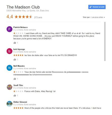 Capture d'écran de la page Google du Madison Club, le 18/04/2017 à 16h19.