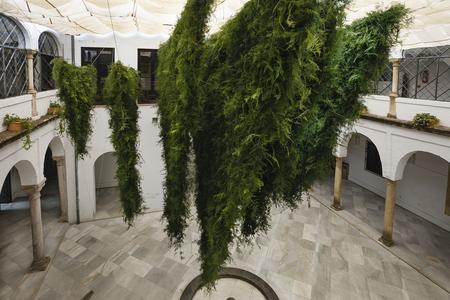 Les majestueuses draperies d'asparagus du duo Loose Leaf, composé de la Coréenne Wona Bae et de l'Australien Charlie Lawler, au Palacio de Orive.