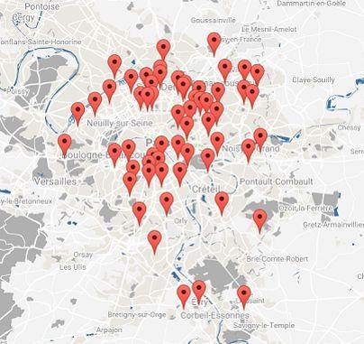 La carte des 61 sites proposés