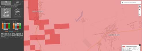 Cette carte révèle la couverture des opérateurs mobiles à 50 mètres près