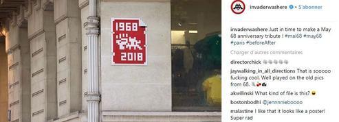 Street art : Space Invader le poing levé pour célébrer Mai-68