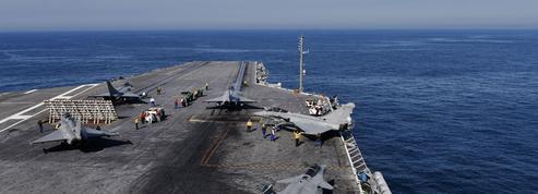 À bord du porte-avions américain USS George Bush, avec les marins français