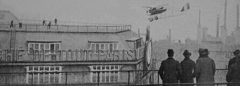 Jules Védrines relève le défi: il atterrit sur le toit des Galeries Lafayette le 19 janvier 1919