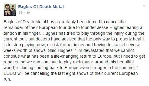 Déclaration des Eagles of Death Metal sur leur compte Facebook.