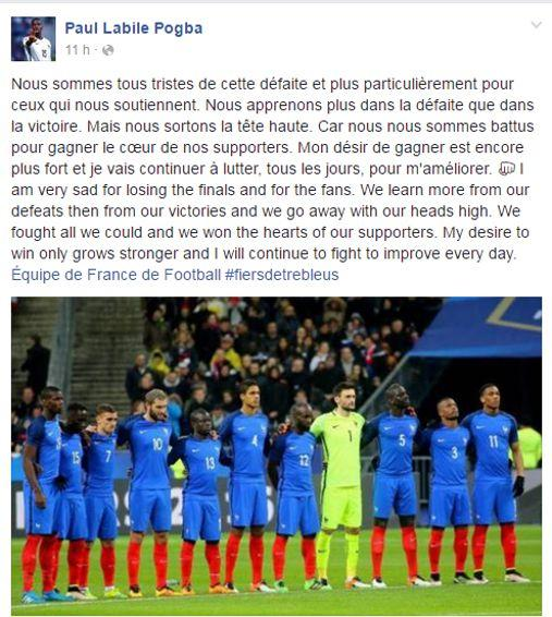 Le message de Paul Pogba sur sa page Facebook.