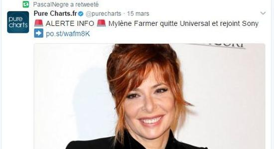 Le tweet de Pascal Nègre suite au départ de Mylène Farmer d'Universal