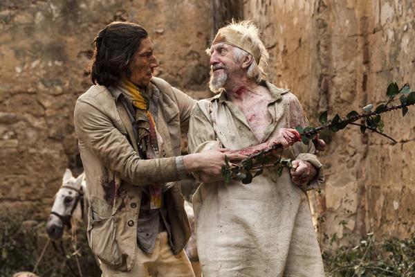 <i>L'Homme qui tua Don Quichotte</i> de Terry Gilliam, avec Adam Driver et Jonathan Pryce.