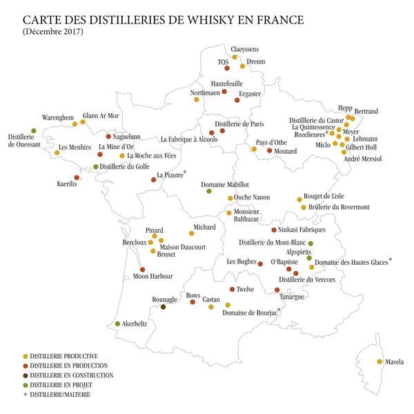 Aujourd'hui, la France compte 52 distilleries de whisky sur son territoire. Crédit FFW.