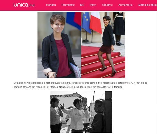 La fillette en photo sur le site Moldave unica.md n'est pas Najat Vallaud-Belkacem.