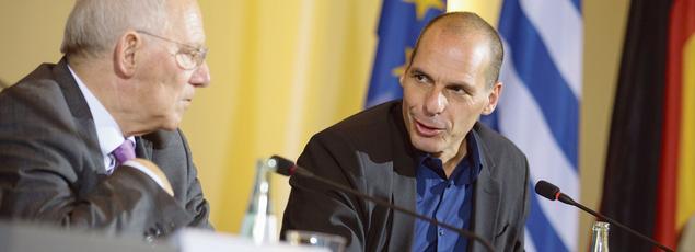 Wolfgang Schaüble, ministre allemand des Finances,et son homologue grec, YanisVaroufakis, lors d'une conférence de presse commune à Berlin en février dernier.