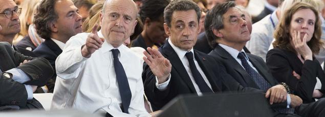 Alain Juppé, Nicolas Sarkozy, François Fillon et Nathalie Kosciusko-Morizet, le 30 mai, au congrès fondateur des Républicains.