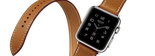 Un modèle Apple Watch Hermes vendu à la boutique Apple à Opéra (Paris)