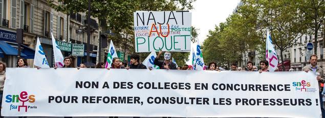 Manifestation d'enseignants le 17 septembre 2015 à Paris, contre la réforme du collège portée par Najat Vallaud-Belkacem.