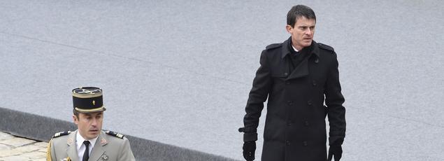 Manuel Valls, vendredi, lors de l'hommage national aux victimes des attentats du vendredi 13 novembre.