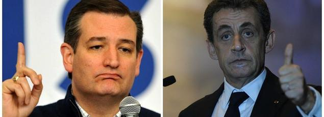 Le candidat Républicain (USA) Ted Cruz et le chef des Républicains Nicolas Sarkozy