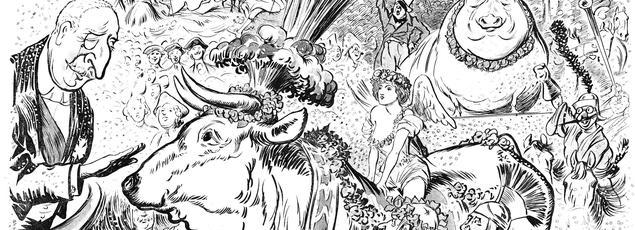 Dessin de Caran d'Ache dans le supplément du Figaro à l'occasion du défilé du boeuf gras en février 1896. On y voit le président Félix Faure accueillant l'animal.