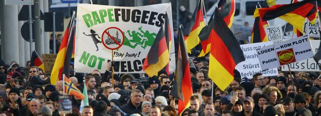 Manifestation du mouvement anti-islam Pegida, en Allemagne, à Cologne, le 9 janvier 2016.