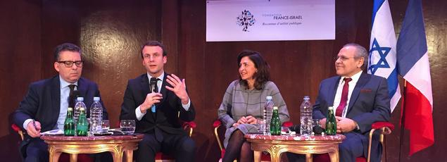 Frédéric Haziza, Emmanuel Macron, Nicole Guedj et Sydney Ohana à Paris, le 9 février 2016.