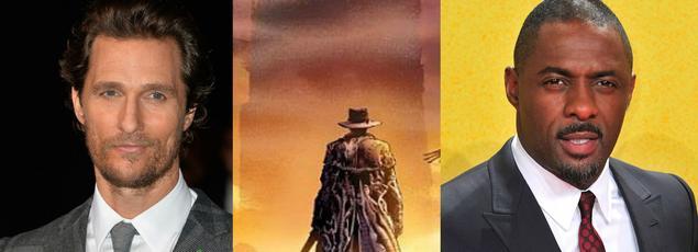 Matthew McConaughey (à gauche) et Idris Elba pourraient bien, selon Stephen King, donner vie sur grand écran à l'adaptation de La Tour Sombre.