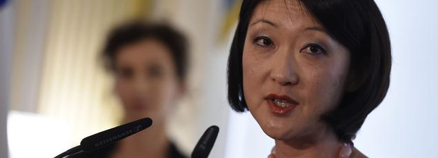 Très émue, l'ex-ministre Fleur Pellerin a d'abord rappelé, dans un long discours, les «combats» qu'elle avait menés depuis la Rue de Valois.