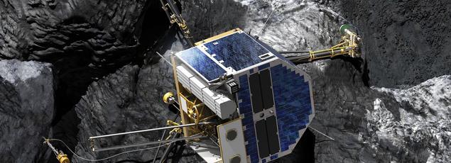Vue d'artiste de la dernière position de Philae sur la comète, penché sur le flanc d'un canyon qui a réduit l'ensoleillement et probablement compliqué les liaisons radios avec la sonde Rosetta.