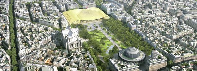 Vue aérienne de la Canopée qui recouvre le Forum des Halles.