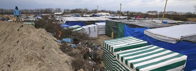 Camp de migrants de Calais, (Pas-de-de-Calais).
