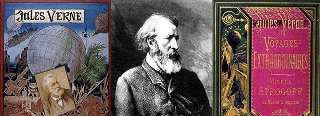 Portrait de Pierre-Jules Hetzel entouré de deux couvertures de livre de Jules Verne, aux éditions Hetzel .