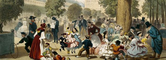 Le Jardin des Tuileries vers 1856 par Eugène Charles François Guérard. Musée Carnavalet.