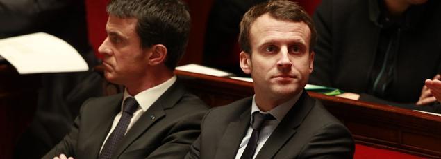 Manuel Valls et Emmanuel Macron en février à l'Assemblée nationale.
