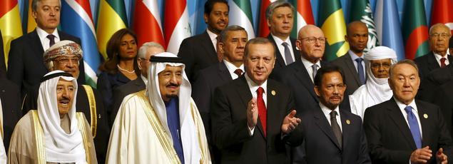Le président turc entouré de ses homologues à Istanbul ce vendredi.
