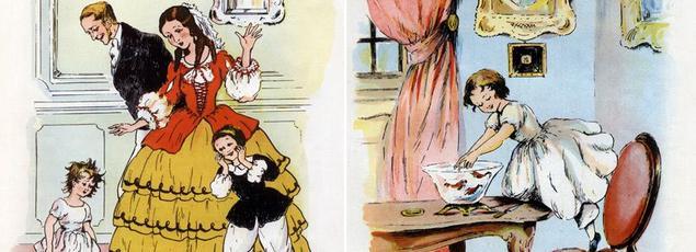 Deux scènes des Malheurs de Sophie: restée sous la pluie, dans l'espoir de faire friser ses cheveux, elle est la risée de ses parents, Mr et Mme de Réan, et de son cousin Paul. Autre fameuse scène, celle où elle joue avec les poissons pour finalement les couper en petits morceaux.