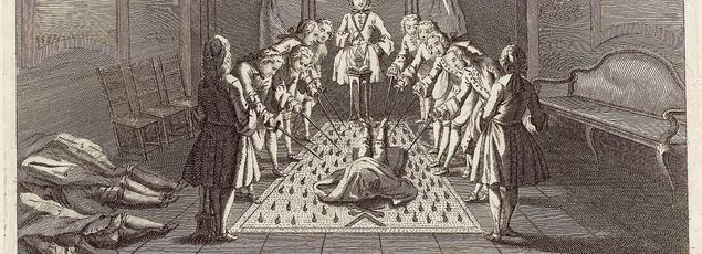 Assemblée de francs-maçons pour la réception des maîtres. Gravure de Gabanon, 1744.