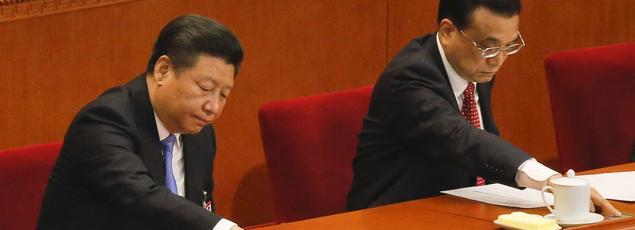 Le président Xi Jinping et le premier ministre Li Keqiang lors du Congrès du PCC le 16 mars.